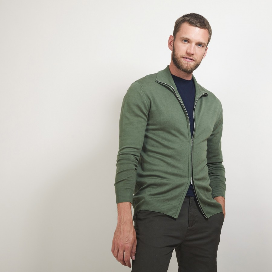 Zipped wool cardigan - Bastian