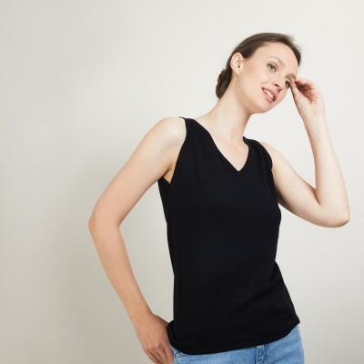 Débardeur col v en laine - Blanchette