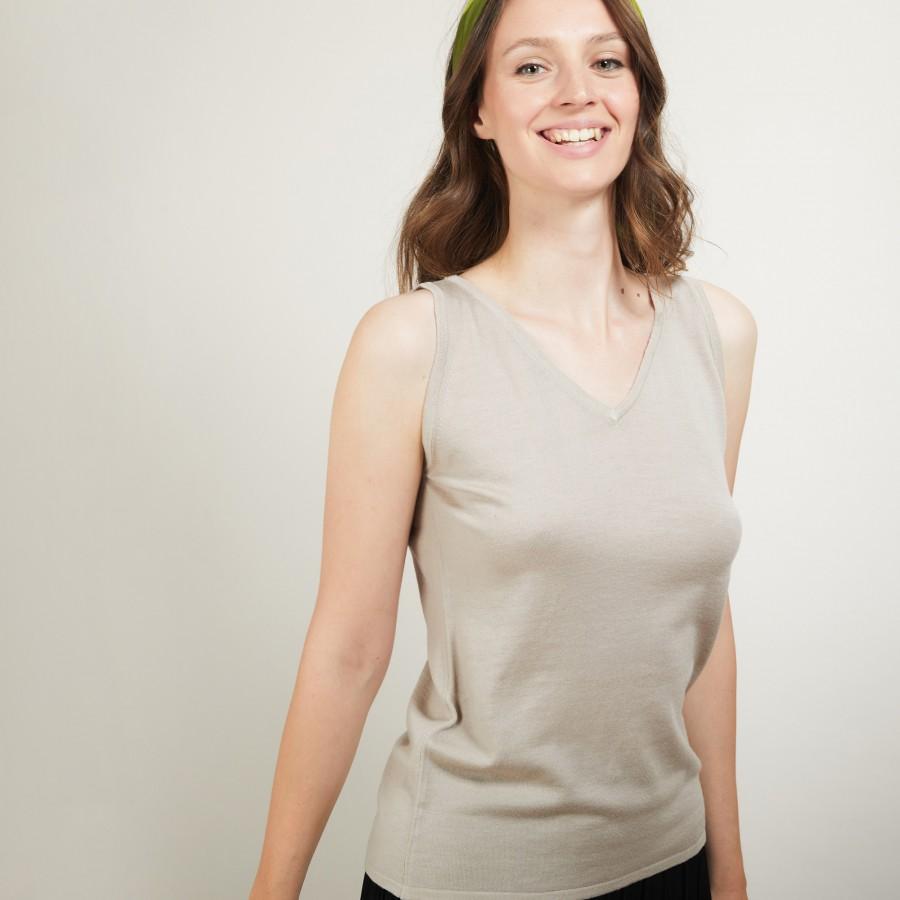 V-neck wool tank top - Blanchette