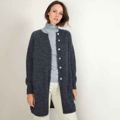 Long mohair cardigan with pockets - Gaya