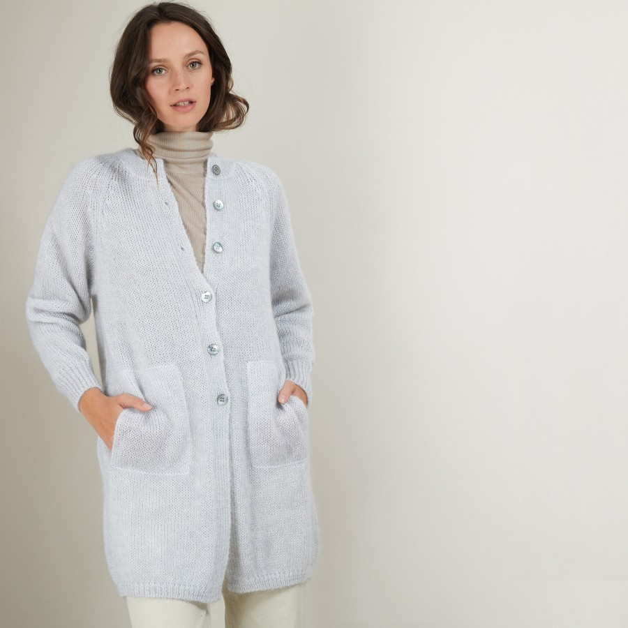 Long 2-pocket mohair cardigan - Gaya