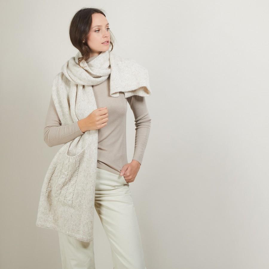 Echarpe avec poches en viscose et baby alpaga - Giva 7001 dune - 12 Beige clair