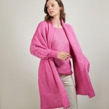 Echarpe avec poches en viscose et baby alpaga - Giva 7083 pivoine - 26 Rose foncé