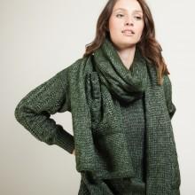 Echarpe avec poches en viscose et baby alpaga - Giva 7050 bronze - 21 Vert foncé
