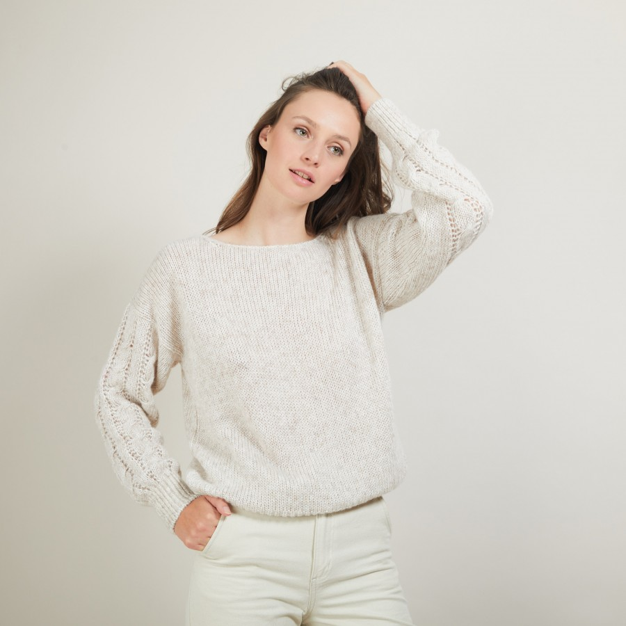 Pull col rond manches torsadées - Gracieuse 7001 dune - 12 Beige clair
