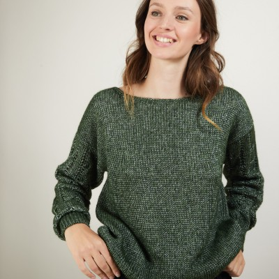 Round neck sweater with twisted sleeves - Gracieuse