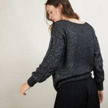 Pull col rond manches torsadées - Gracieuse