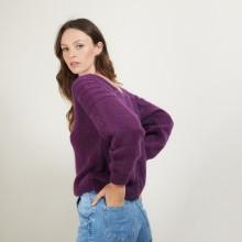 Pull dos torsadé en mohair - Gwen 7085 damas - 18 Violet foncé