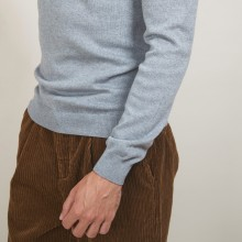 Pull col rond en coton cachemire - Burton 7012 volute - 09 Gris moyen