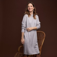 Robe en laine boutons épaule - Frankie 7013 vapeur - 11 Gris clair