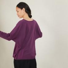 Pull manches chauve-souris en laine - Boxe 7085 damas - 18 Violet foncé