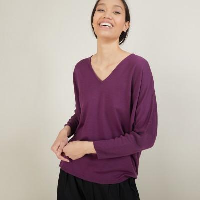 Batwing-sleeves merino wool sweater - Boxe
