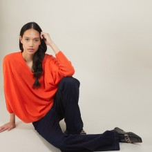 Pull manches chauve-souris en laine - Boxe 7081 fusion - 15 Orange