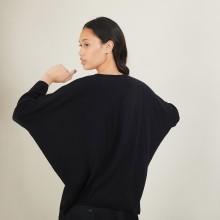 Pull manches chauve-souris en laine - Boxe 7010 noir - 01 Noir
