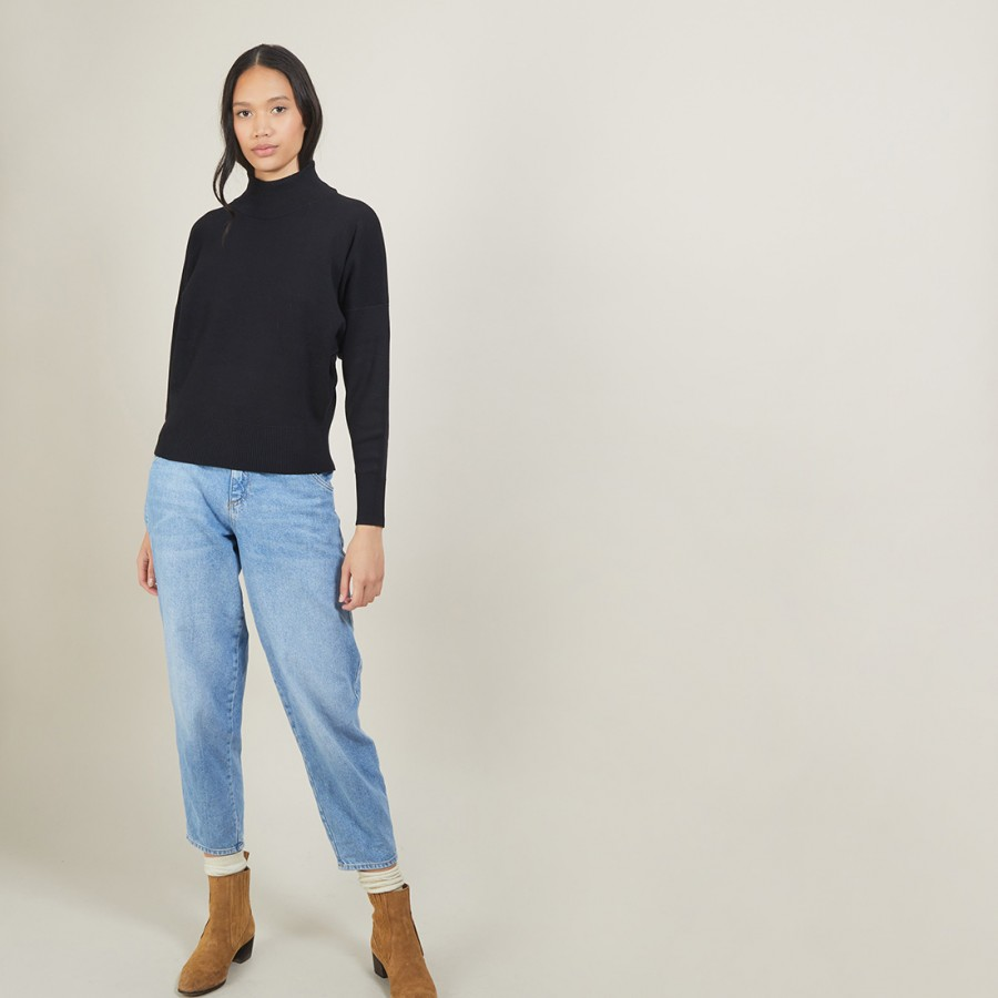 Cotton cashmere high neck sweater - Fanny