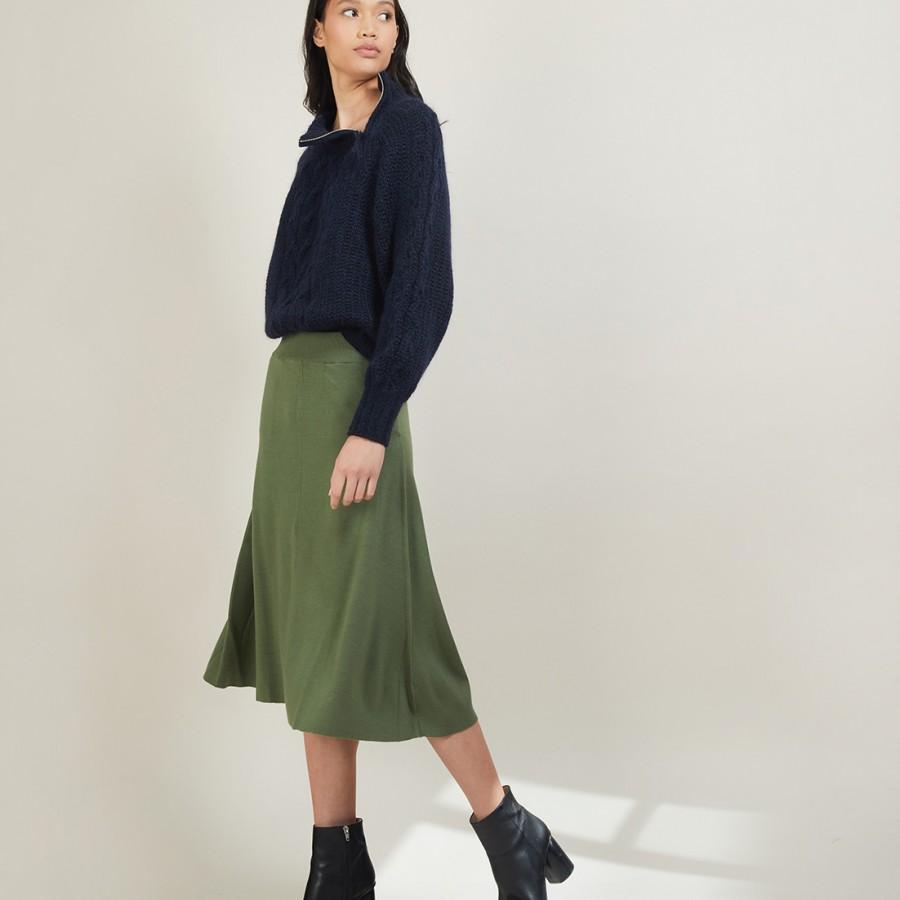 Jupe à poches en laine - Grazia 7050 bronze - 83 Kaki