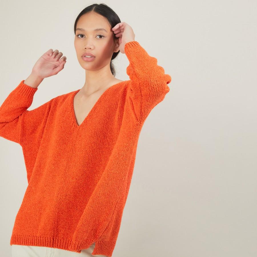 Pull ample col v en laine et soie - Baba 7002 arome - 82 Ecru