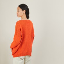 V-neck loose-fitting jumper in wool and silk - Baba