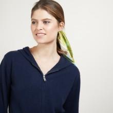 Veste en cachemire zippée à capuche - Bambou 7040 marine - 05 Bleu marine