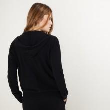 Zipped cashmere jacket with hood - Bambou