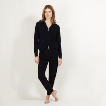 Veste en cachemire zippée à capuche - Bambou 7010 noir - 01 Noir
