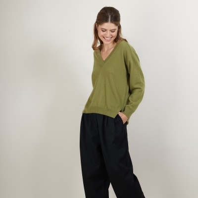 Cashmere V-neck sweater with slits - Barnabe