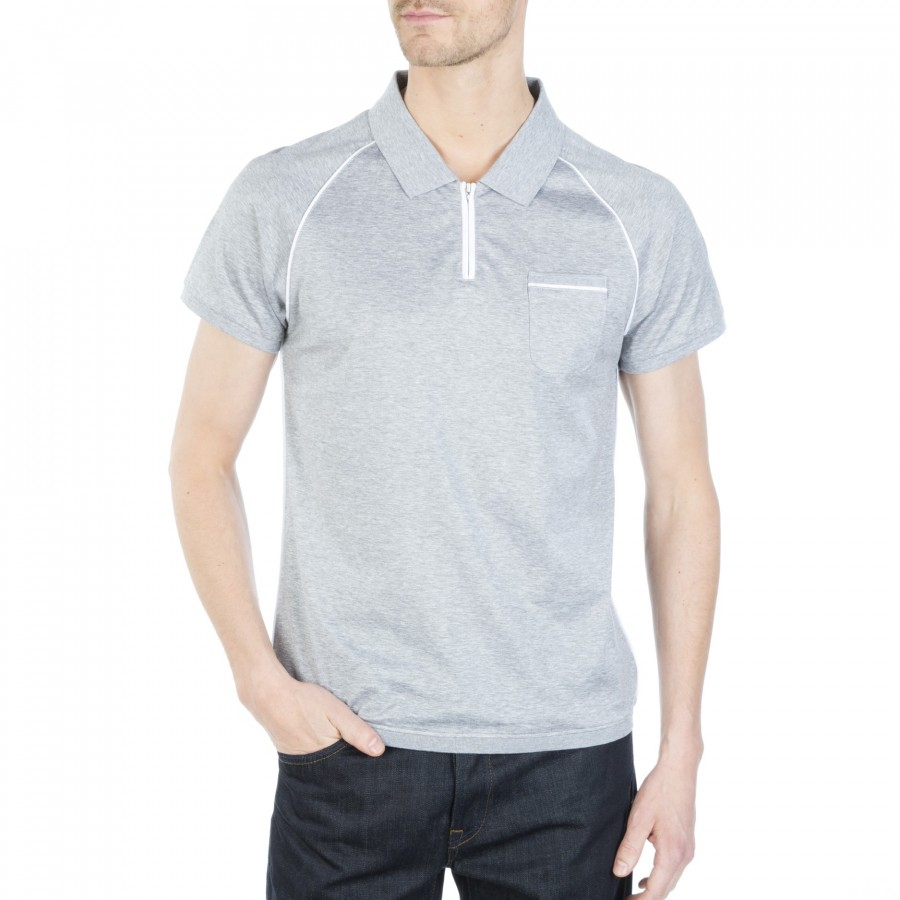 Short sleeve polo shirt zip pocket Fernando