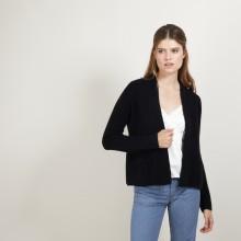 Gilet court en cachemire avec poches - Basma 7010 noir - 01 Noir