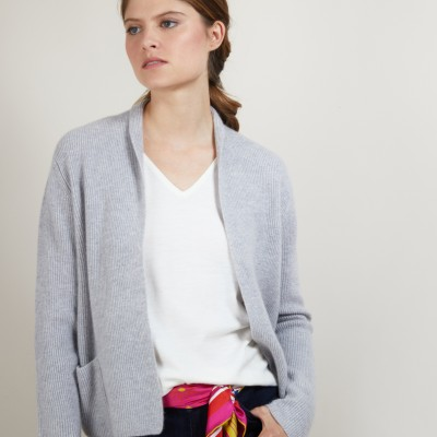 Short cashmere cardigan with pockets - Basma