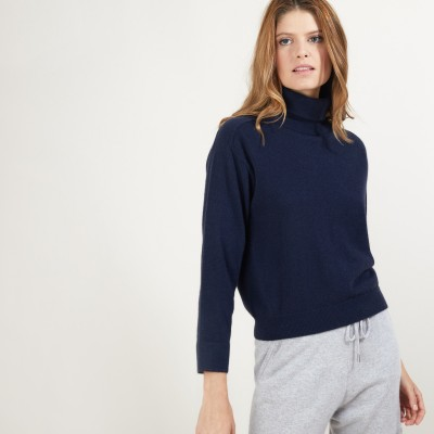 Cashmere turtleneck sweater with hammer armholes - Beverly
