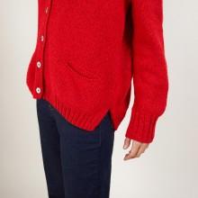 Cardigan en col V en laine et soie - Bilan 7080 dahlia - 52 Rouge