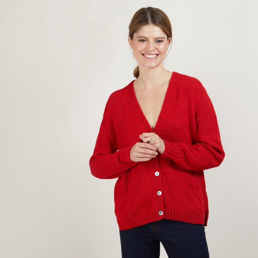 V-neck cardigan in wool and silk - Bilan