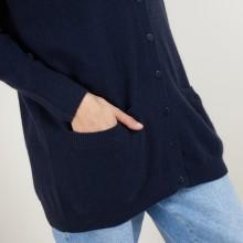 Long cardigan à poches en cachemire - Blush 7040 marine - 05 Bleu marine