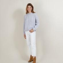 Pull col rond en laine nylon - Gustave 7013 vapeur - 77 Bleu ciel