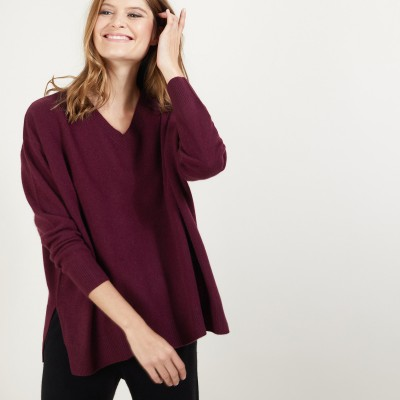 V-neck cashmere sweater with slits - Brendao