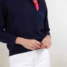 Cashmere round neck sweater with hammer armholes - Bree