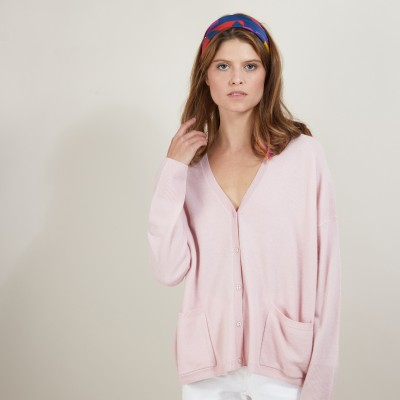 Cashmere V-neck cardigan - Brune