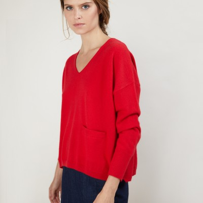 Short cashmere V-neck sweater - Balba