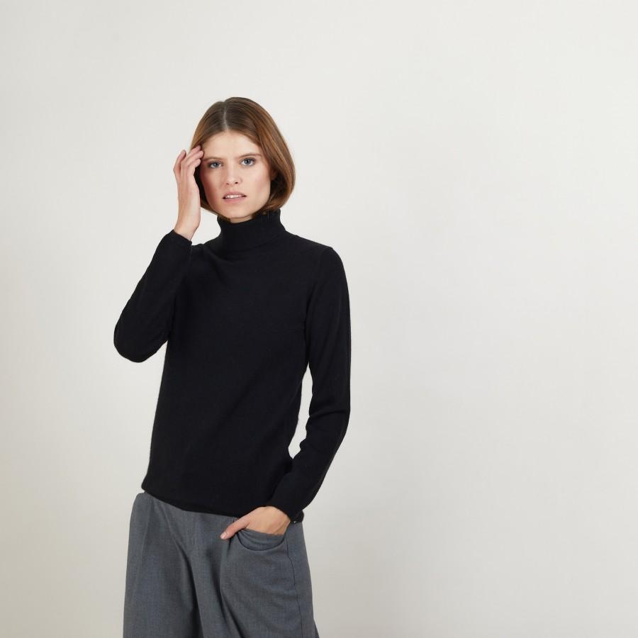 Pull col roulé en cachemire - Bauhaus 7010 noir - 01 Noir