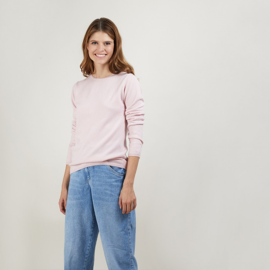 Pull col rond en cachemire - Berline 7084 opale - 24 Rose clair