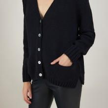 Cardigan en col V en laine et soie - Bilan 7010 noir - 01 Noir
