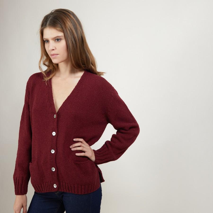 V-neck cardigan in wool and silk - Bilan