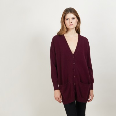 Long cardigan with pockets in cashmere - Blush