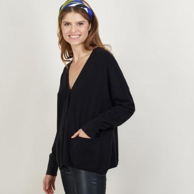 Cashmere V-neck cardigan - Brune
