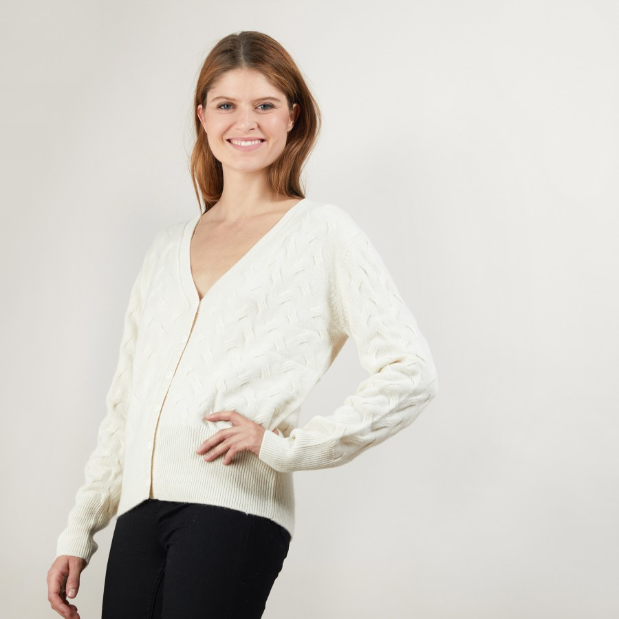 Cable-knit cashmere cardigan - Fiona
