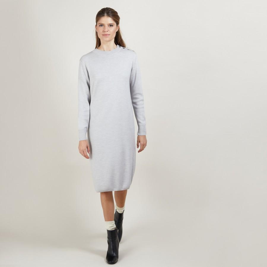 Robe en laine boutons épaule - Frankie