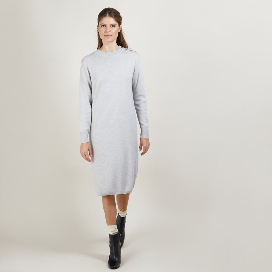 Wool dress with buttons on the shoulder - Frankie