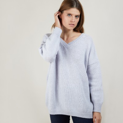 Front and back v-neck cardigan in nylon wool - Gebril