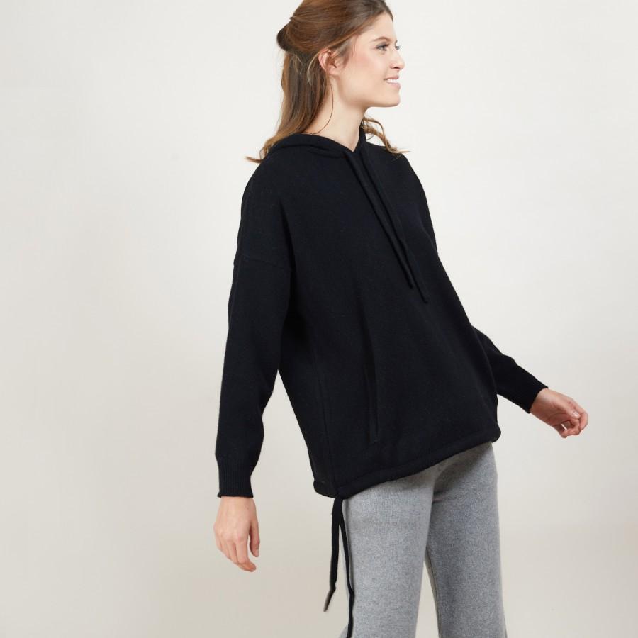 Sweat à capuche en cachemire et laine recyclés - Gala 7010 noir - 01 Noir