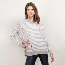 Pull rayé en laine - Felicia 7107 dune/opale - 13 Beige moyen